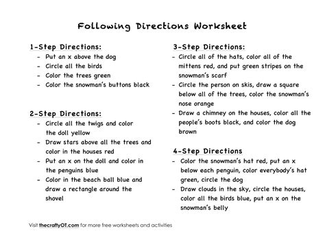 Following 2 Step Directions Worksheets Free - A Worksheet Blog